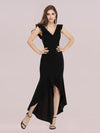 Stylish Maxi V Neck High-Low Fishtail Party Dress-Black 4