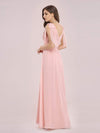 Romantic Sleek V Neck High Waist Chiffon Bridesmaid Dress-Pink 2