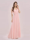 Romantic Sleek V Neck High Waist Chiffon Bridesmaid Dress-Pink 3