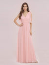 Romantic Sleek V Neck High Waist Chiffon Bridesmaid Dress-Pink 4