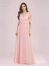 Romantic Sleek V Neck High Waist Chiffon Bridesmaid Dress-Pink 1