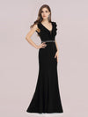 Deep V Neck Fishtail Evening Dress With Hot Drill Belt-Black 4