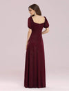 Simple Sheath Sweetheart Neck Floor Length Bridesmaid Dress-Burgundy 2
