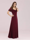 Simple Sheath Sweetheart Neck Floor Length Bridesmaid Dress-Burgundy 3