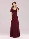 Simple Sheath Sweetheart Neck Floor Length Bridesmaid Dress-Burgundy 4