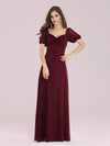 Simple Sheath Sweetheart Neck Floor Length Bridesmaid Dress-Burgundy 1