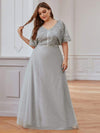 Elegant V-Neck Tulle Evening Dresses With Paillette Design-Grey 3