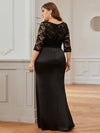 Elegant Plus Size Round Neck Evening Dresses With Half Sleeves-Black 2