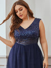 Gorgeous Sleevesless Double V Neckline Plus Size Tulle Evening Dresses-Navy Blue 5