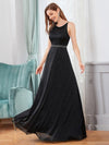 Elegant Round Neck Sleeveless Maxi Evening Dress For Party-Black 4