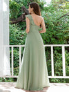 Feminine One Shoulder A-Line Bridesmaid Dresses-Mint Green 2