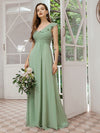Feminine One Shoulder A-Line Bridesmaid Dresses-Mint Green 4