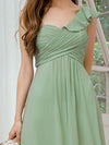 Feminine One Shoulder A-Line Bridesmaid Dresses-Mint Green 5