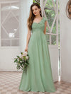 Feminine One Shoulder A-Line Bridesmaid Dresses-Mint Green 1