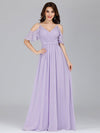 Elegant Chiffon V-Neck Bridesmaid Dresses With Ruffles Sleeves-Lavender 6