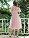 Alluring Tulle Round Neck Bridesmaid Dresses With Short Ruffles Sleeves-Mauve 2
