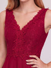 Women'S Stunning V Neck Tulle & Lace Evening Dress For Engagement-Burgundy 3