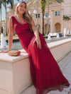 Women'S Stunning V Neck Tulle & Lace Evening Dress For Engagement-Burgundy 6