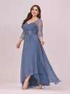 Fashion Ruched Plus Size Chiffon Party Dress With Lace-Dusty Navy 3
