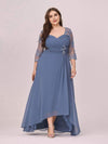 Fashion Ruched Plus Size Chiffon Party Dress With Lace-Dusty Navy 1
