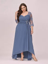 Fashion Ruched Plus Size Chiffon Party Dress With Lace-Dusty Navy 4