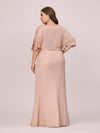 Elegant V Neck Fishtail Plus Size Evening Dress For Mother Of Bride-Blush 2