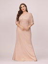 Elegant V Neck Fishtail Plus Size Evening Dress For Mother Of Bride-Blush 4