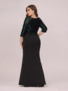 Elegant Round Neck Plus Size Fishtail Evening Dress With Sequin-Black 2