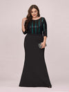 Elegant Round Neck Plus Size Fishtail Evening Dress With Sequin-Black 3