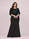 Elegant Round Neck Plus Size Fishtail Evening Dress With Sequin-Black 4