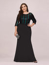 Elegant Round Neck Plus Size Fishtail Evening Dress With Sequin-Black 1