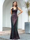 Gorgeous V Neck Sleeveless Mermaid Sequin Evening Gowns-Multicolor 4