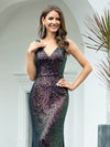 Gorgeous V Neck Sleeveless Mermaid Sequin Evening Gowns-Multicolor 5