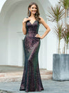 Gorgeous V Neck Sleeveless Mermaid Sequin Evening Gowns-Multicolor 1