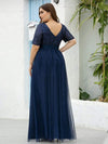 Double V Neck Short Sleeves Evening Dresses With Sequin-Navy Blue 7