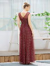 Cute Glittery Illusion Neck A-Line Evening Dress For Women-Burgundy 2
