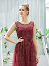 Cute Glittery Illusion Neck A-Line Evening Dress For Women-Burgundy 5