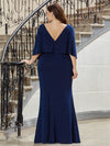 Sexy V Shaped Back Plus Size Mermaid Evening Dress With Wraps-Sapphire Blue 2