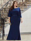 Sexy V Shaped Back Plus Size Mermaid Evening Dress With Wraps-Sapphire Blue 3