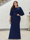 Sexy V Shaped Back Plus Size Mermaid Evening Dress With Wraps-Sapphire Blue 4