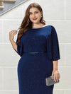 Sexy V Shaped Back Plus Size Mermaid Evening Dress With Wraps-Sapphire Blue 5