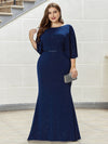 Sexy V Shaped Back Plus Size Mermaid Evening Dress With Wraps-Sapphire Blue 1