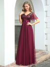 Fashion A-Line Floor Length Tulle Evening Dress With Sequin-Burgundy 4