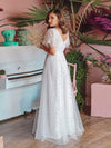 Elegant Simple Deep V Neck A-Line Lace & Tulle Wedding Dress-White 10