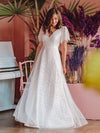 Elegant Simple Deep V Neck A-Line Lace & Tulle Wedding Dress-White 2