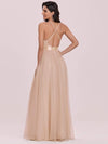 Sexy Floor Length Deep V-Neck A-Line Tulle Backless Evening Dresses-Blush 5