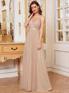 Sexy Floor Length Deep V-Neck A-Line Tulle Backless Evening Dresses-Blush 3