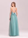 Sexy Floor Length Deep V-Neck A-Line Tulle Backless Evening Dresses-Dusty Blue 2