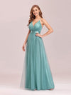 Sexy Floor Length Deep V-Neck A-Line Tulle Backless Evening Dresses-Dusty Blue 3