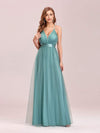 Sexy Floor Length Deep V-Neck A-Line Tulle Backless Evening Dresses-Dusty Blue 4